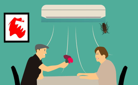 エアコンからゴキブリが出てくる様子