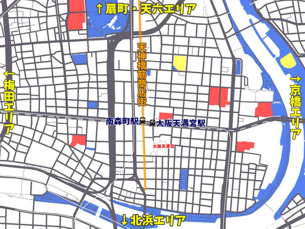 南森町駅周辺の地図